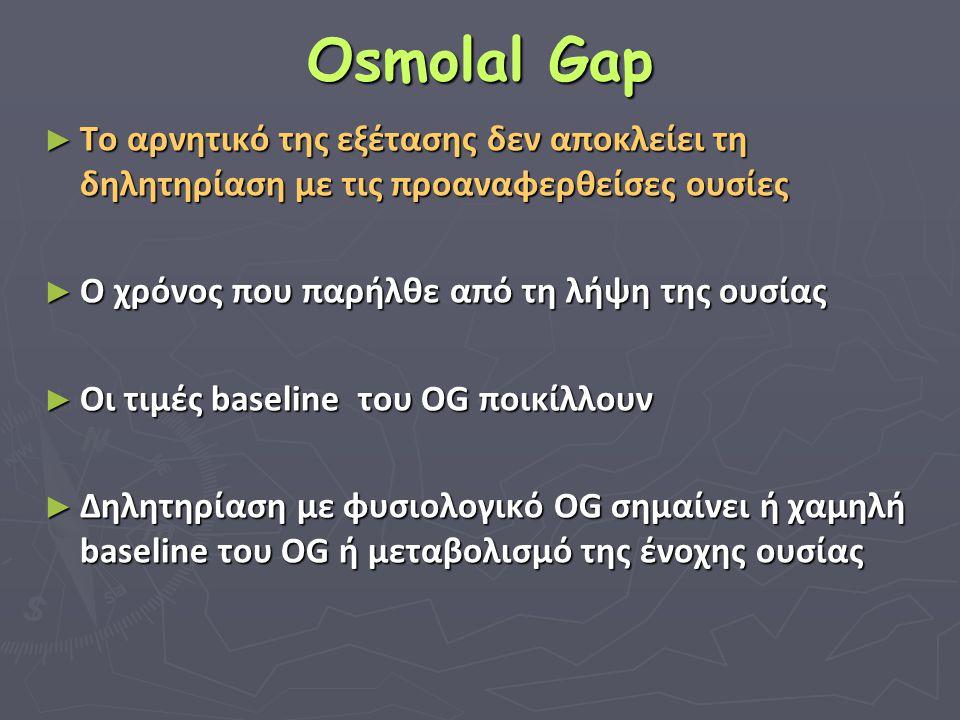 Osmolal Gap Το αρνητικό της εξέτασης δεν αποκλείει τη δηλητηρίαση με τις προαναφερθείσες ουσίες. Ο χρόνος που παρήλθε από τη λήψη της ουσίας.