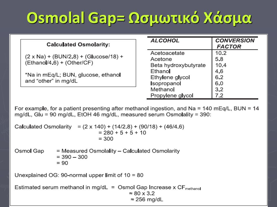 Osmolal Gap= Ωσμωτικό Χάσμα