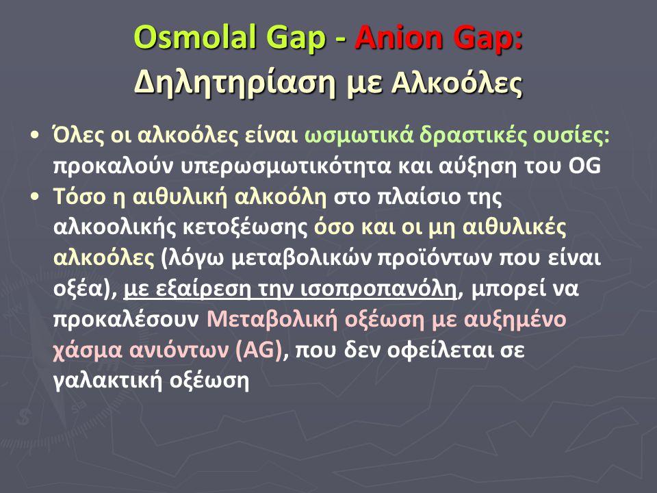 Osmolal Gap - Anion Gap: Δηλητηρίαση με Αλκοόλες