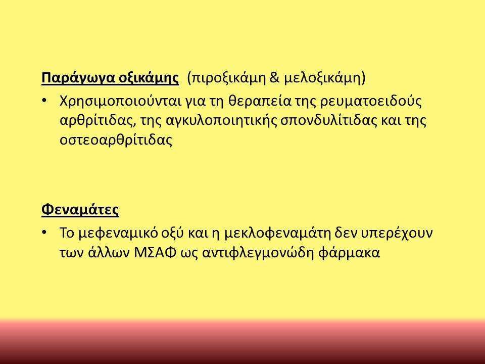Παράγωγα οξικάμης (πιροξικάμη & μελοξικάμη)