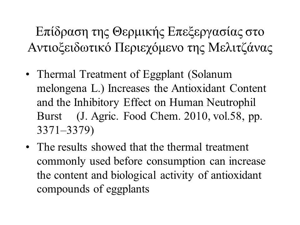 Επίδραση της Θερμικής Επεξεργασίας στο Αντιοξειδωτικό Περιεχόμενο της Μελιτζάνας