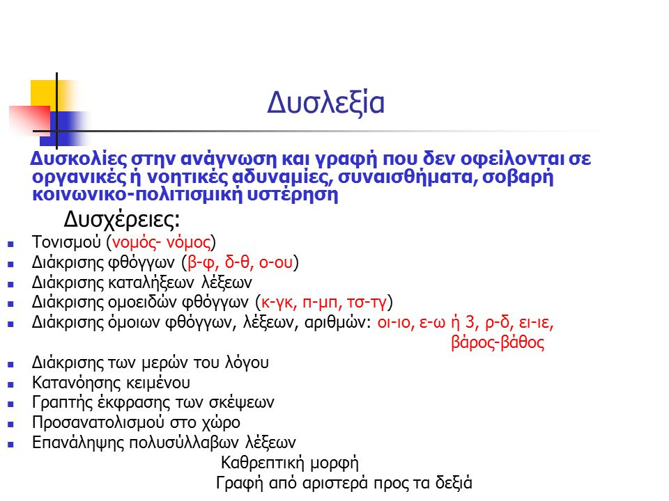 Δυσλεξία Τονισμού (νομός- νόμος) Διάκρισης φθόγγων (β-φ, δ-θ, ο-ου)