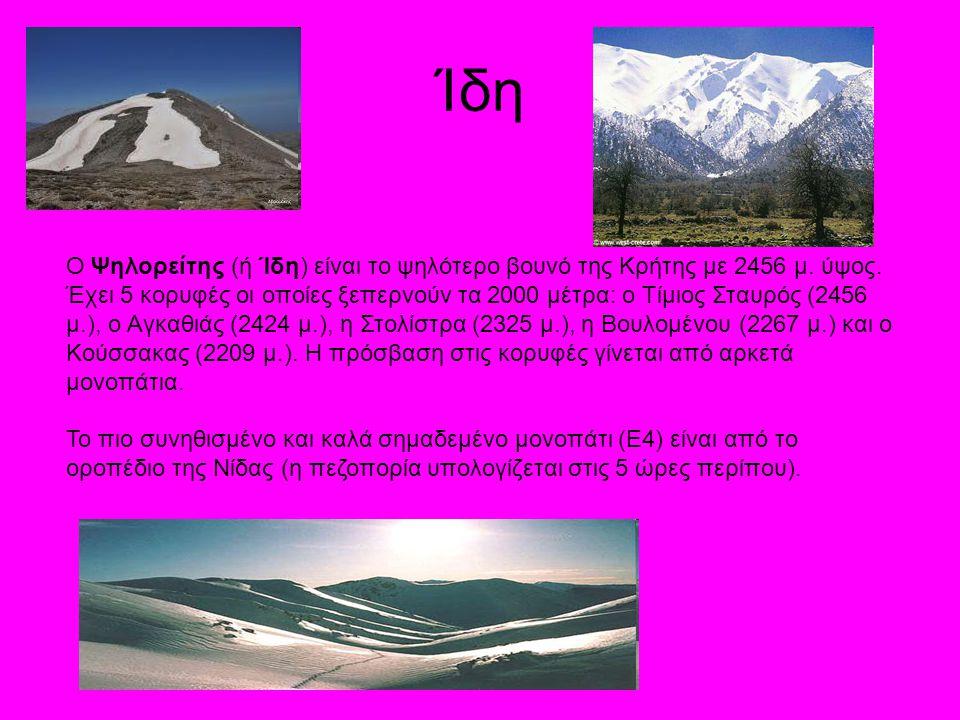 Ίδη Ο Ψηλορείτης (ή Ίδη) είναι το ψηλότερο βουνό της Κρήτης με 2456 μ. ύψος.