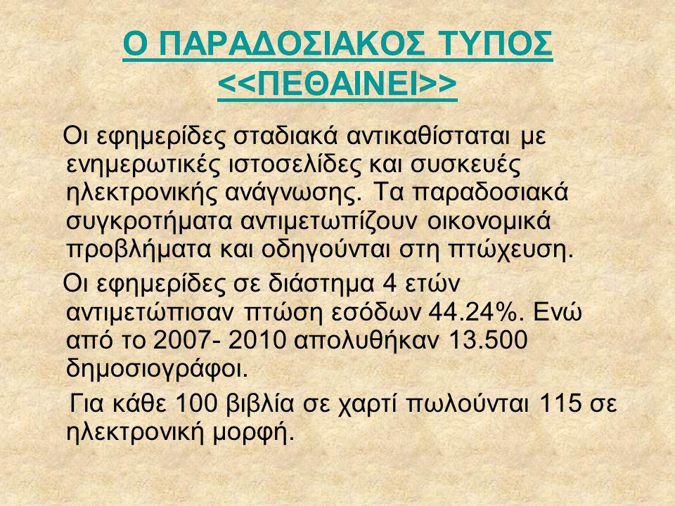 Ο ΠΑΡΑΔΟΣΙΑΚΟΣ ΤΥΠΟΣ <<ΠΕΘΑΙΝΕΙ>>