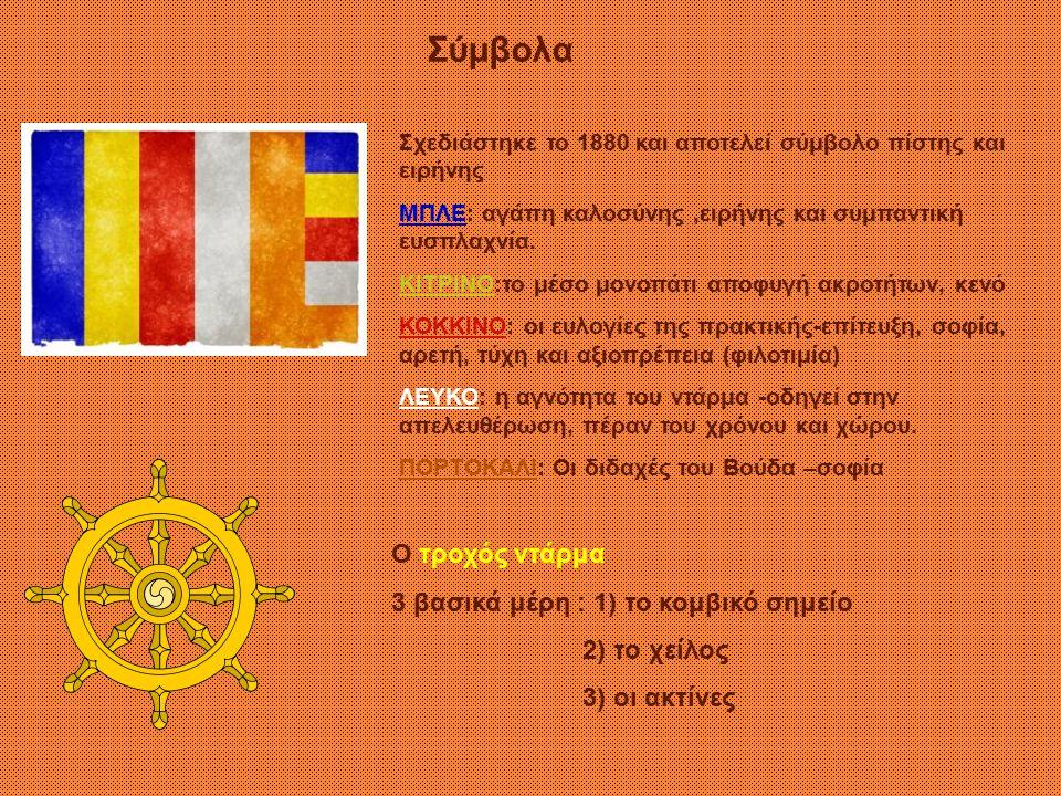 Σύμβολα Ο τροχός ντάρμα 3 βασικά μέρη : 1) το κομβικό σημείο