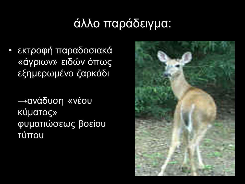 άλλο παράδειγμα: εκτροφή παραδοσιακά «άγριων» ειδών όπως εξημερωμένο ζαρκάδι.
