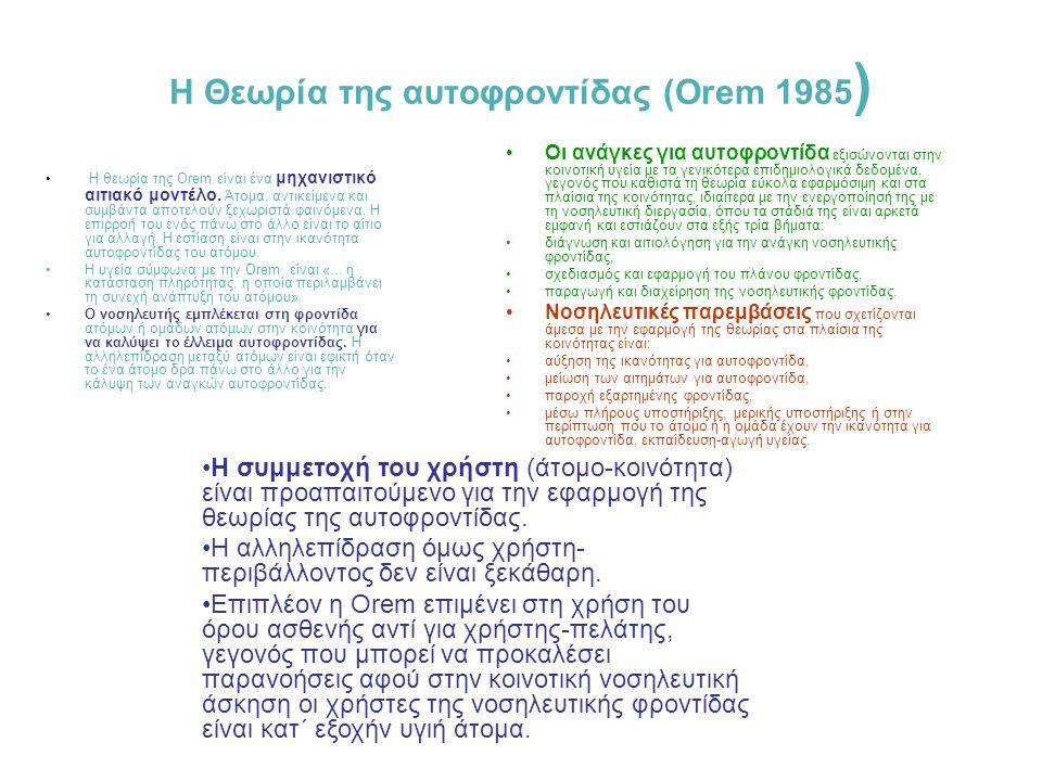 H Θεωρία της αυτοφροντίδας (Orem 1985)
