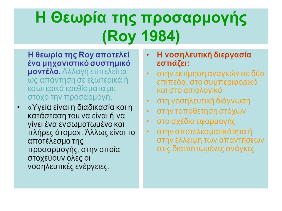 H Θεωρία της προσαρμογής (Roy 1984)