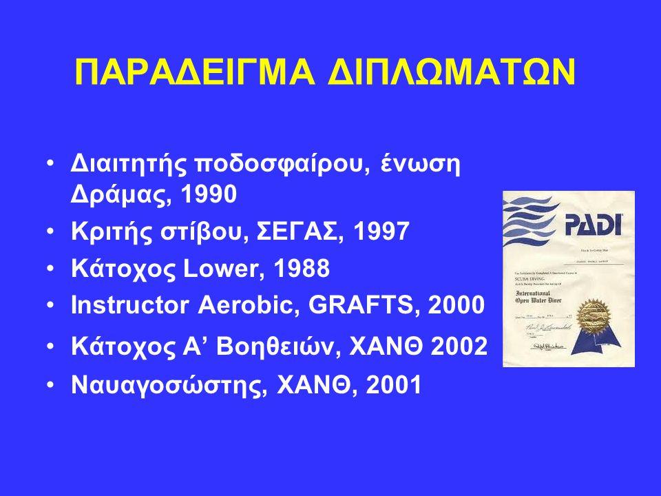 ΠΑΡΑΔΕΙΓΜΑ ΔΙΠΛΩΜΑΤΩΝ