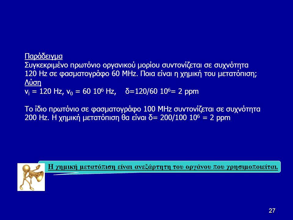 Παράδειγμα Συγκεκριμένο πρωτόνιο οργανικού μορίου συντονίζεται σε συχνότητα 120 Hz σε φασματογράφο 60 ΜΗz. Ποια είναι η χημική του μετατόπιση;