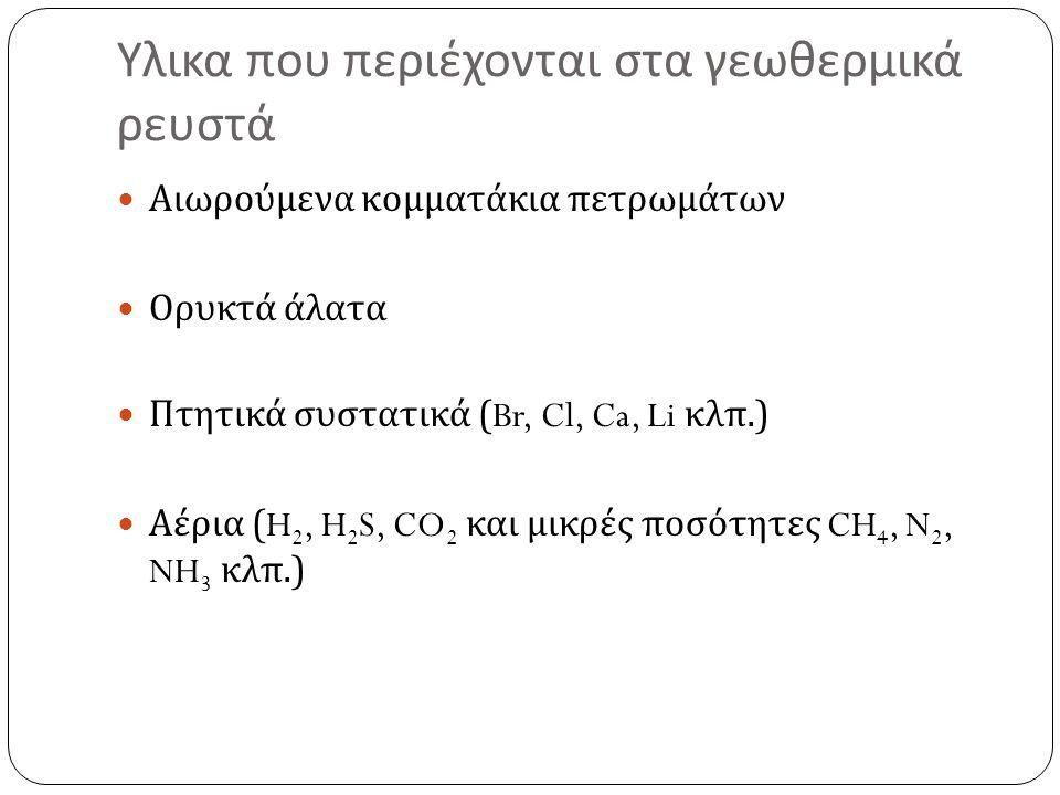 Υλικα που περιέχονται στα γεωθερμικά ρευστά