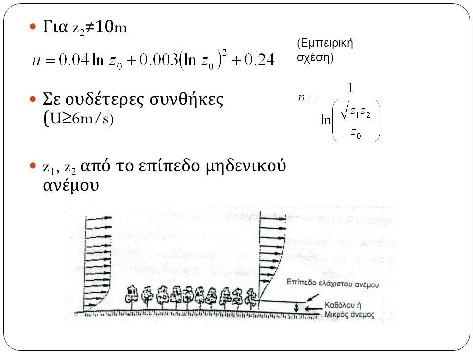Σε ουδέτερες συνθήκες (U≥6m/s)