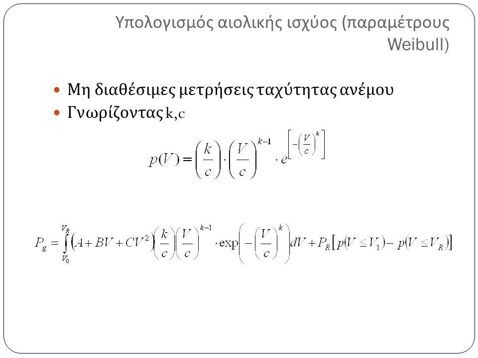 Υπολογισμός αιολικής ισχύος (παραμέτρους Weibull)
