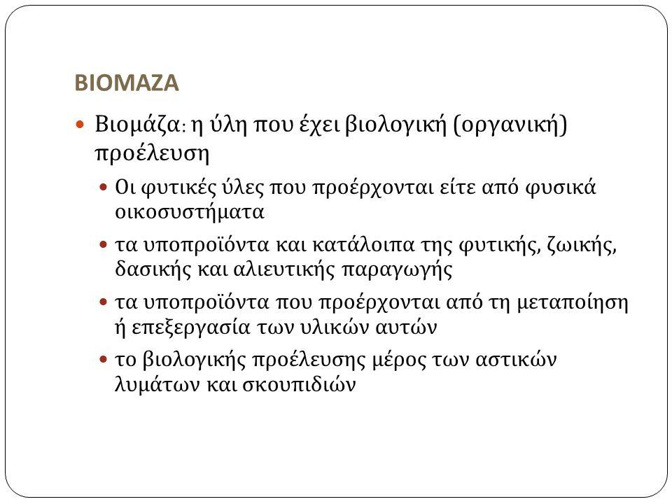 ΒΙΟΜΑΖΑ Βιομάζα: η ύλη που έχει βιολογική (οργανική) προέλευση