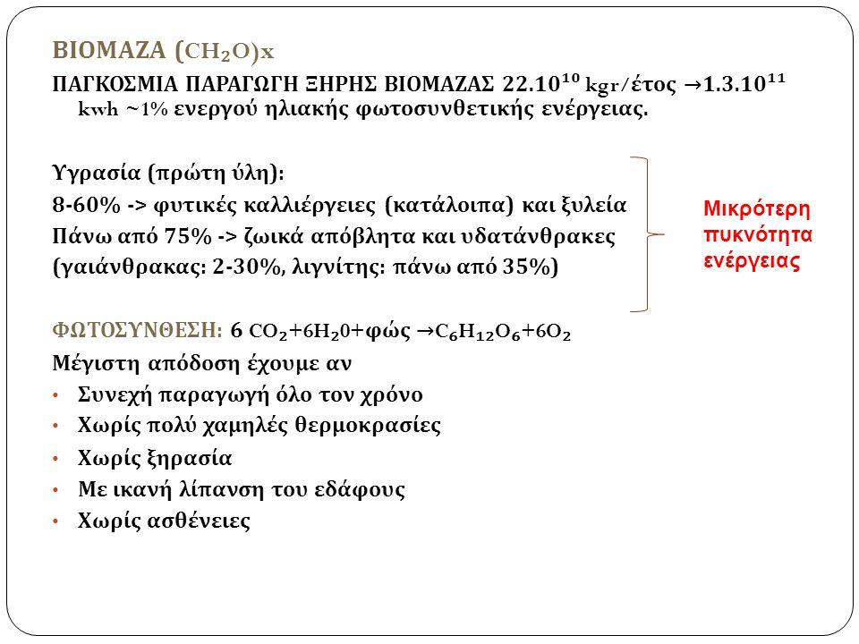 ΒΙΟΜΑΖΑ (CH₂O)x ΠΑΓΚΟΣΜΙΑ ΠΑΡΑΓΩΓΗ ΞΗΡΗΣ ΒΙΟΜΑΖΑΣ 22.10¹⁰ kgr/έτος →1.3.10¹¹ kwh ~1% ενεργού ηλιακής φωτοσυνθετικής ενέργειας.