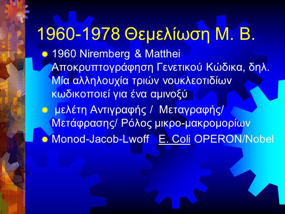 1960-1978 Θεμελίωση Μ. Β.