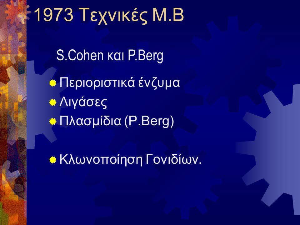 1973 Τεχνικές Μ.Β S.Cohen και P.Berg Περιοριστικά ένζυμα Λιγάσες