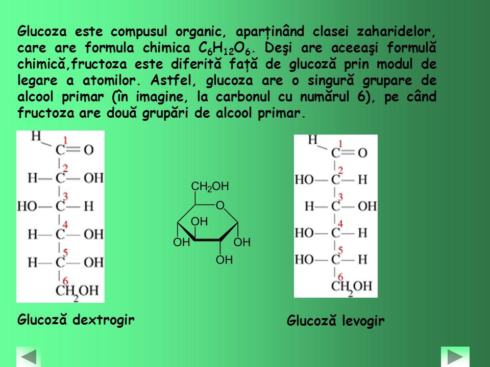 Glucoza este compusul organic, aparţinând clasei zaharidelor, care are formula chimica C6H12O6. Deşi are aceeaşi formulă chimică,fructoza este diferită faţă de glucoză prin modul de legare a atomilor. Astfel, glucoza are o singură grupare de alcool primar (în imagine, la carbonul cu numărul 6), pe când fructoza are două grupări de alcool primar.
