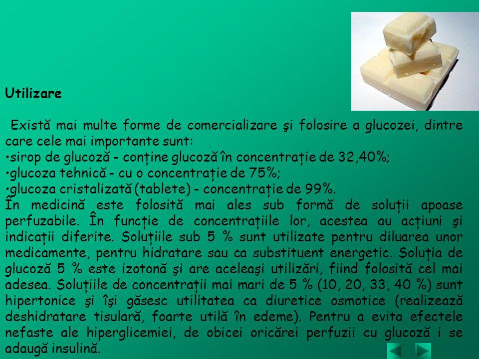 Utilizare Există mai multe forme de comercializare şi folosire a glucozei, dintre care cele mai importante sunt: