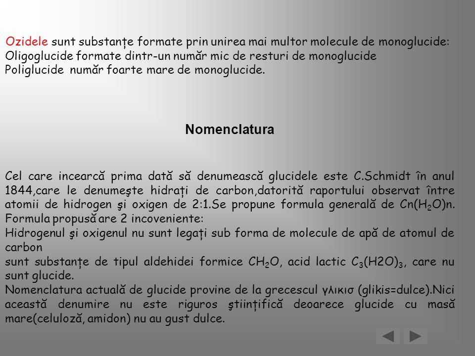 Ozidele sunt substanţe formate prin unirea mai multor molecule de monoglucide: