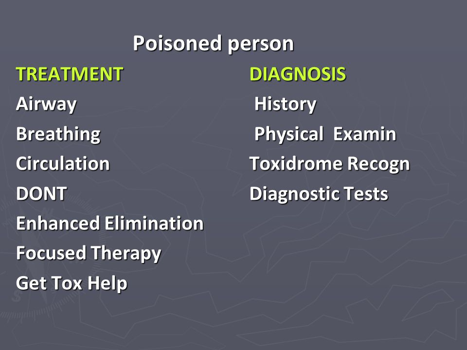 Poisoned person TREATMENT DIAGNOSIS Airway History