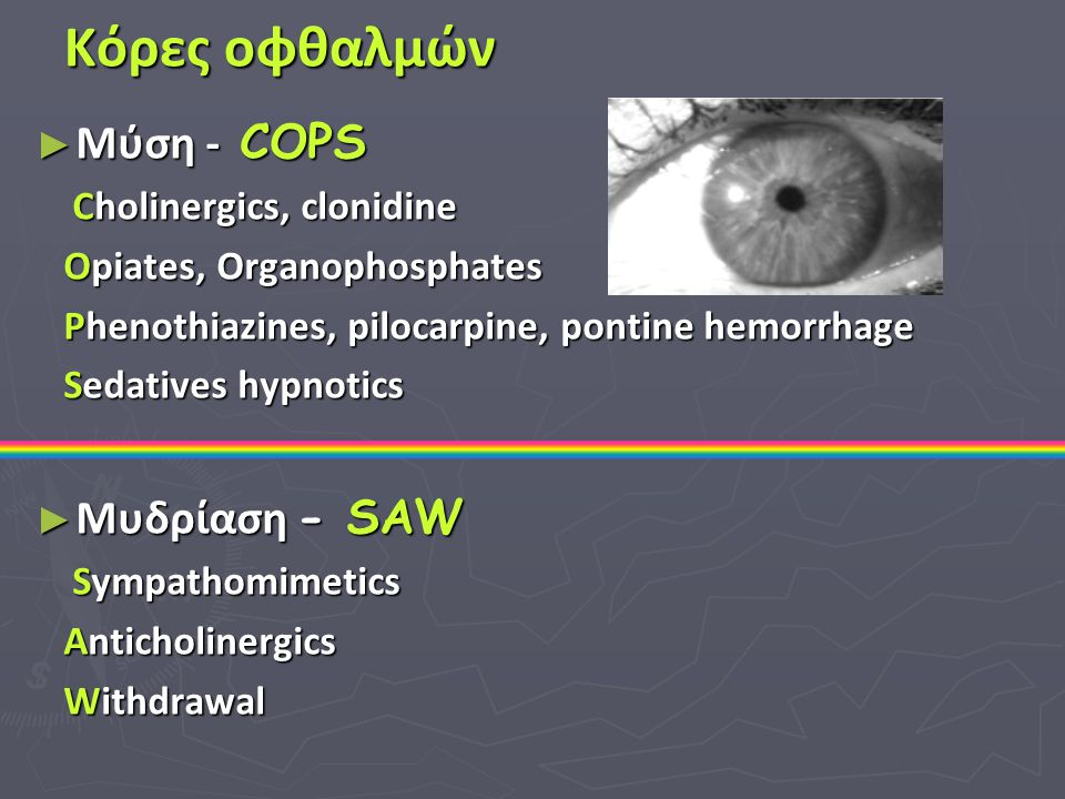 Κόρες οφθαλμών Μύση - COPS Μυδρίαση - SAW Cholinergics, clonidine