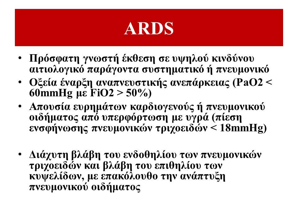 ARDS Πρόσφατη γνωστή έκθεση σε υψηλού κινδύνου αιτιολογικό παράγοντα συστηματικό ή πνευμονικό.