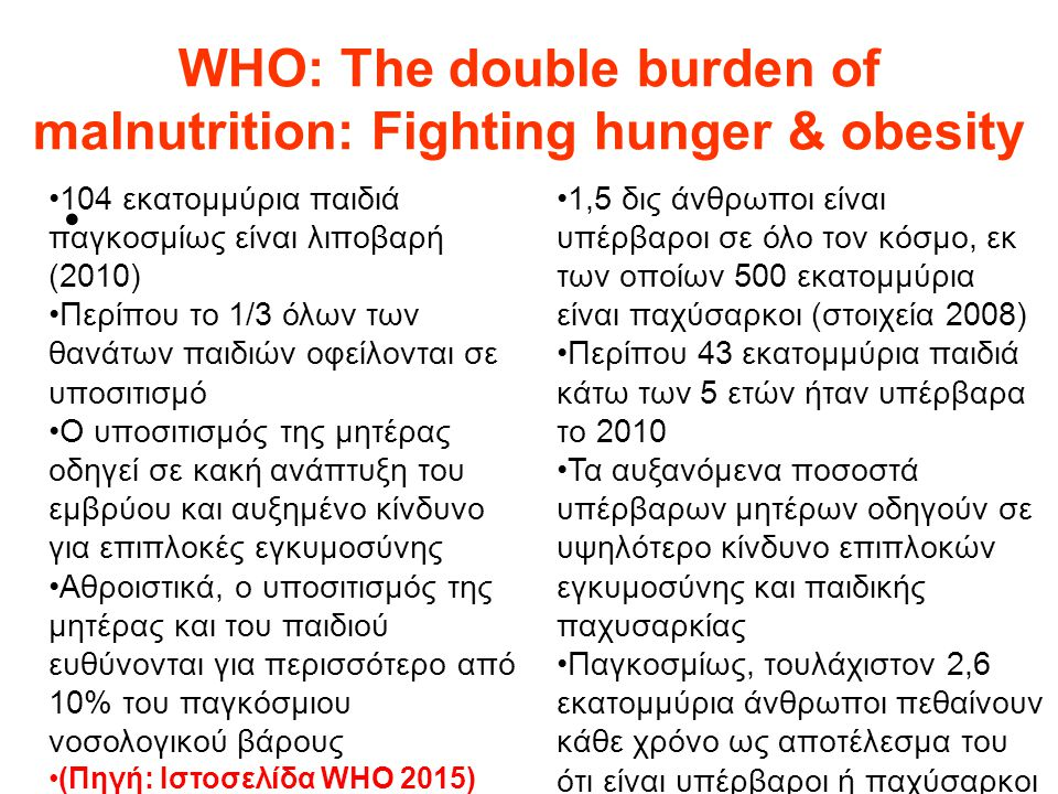 WHO: Τhe double burden of malnutrition: Fighting hunger & obesity
