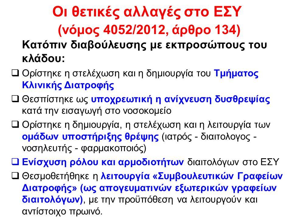 Οι θετικές αλλαγές στο ΕΣΥ (νόμος 4052/2012, άρθρο 134)