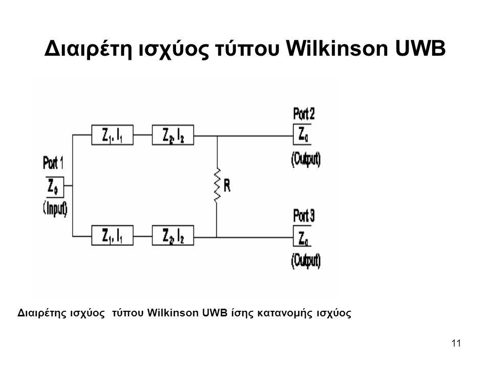 Διαιρέτη ισχύος τύπου Wilkinson UWB