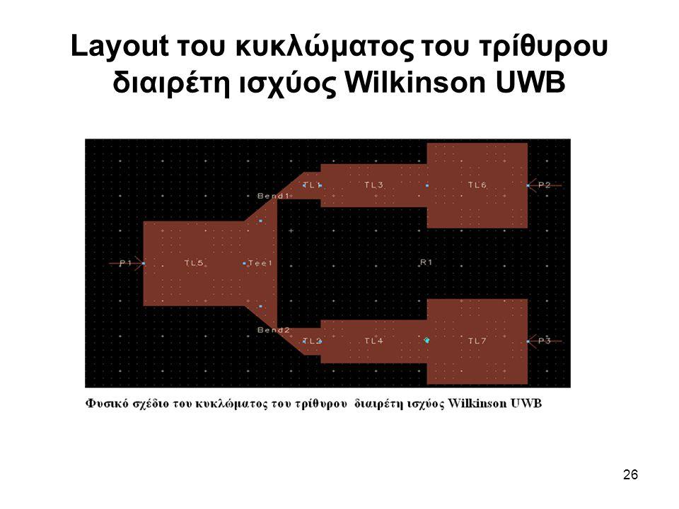 Layout του κυκλώματος του τρίθυρου διαιρέτη ισχύος Wilkinson UWB