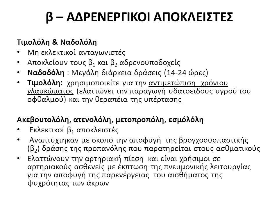 β – ΑΔΡΕΝΕΡΓΙΚΟΙ ΑΠΟΚΛΕΙΣΤΕΣ