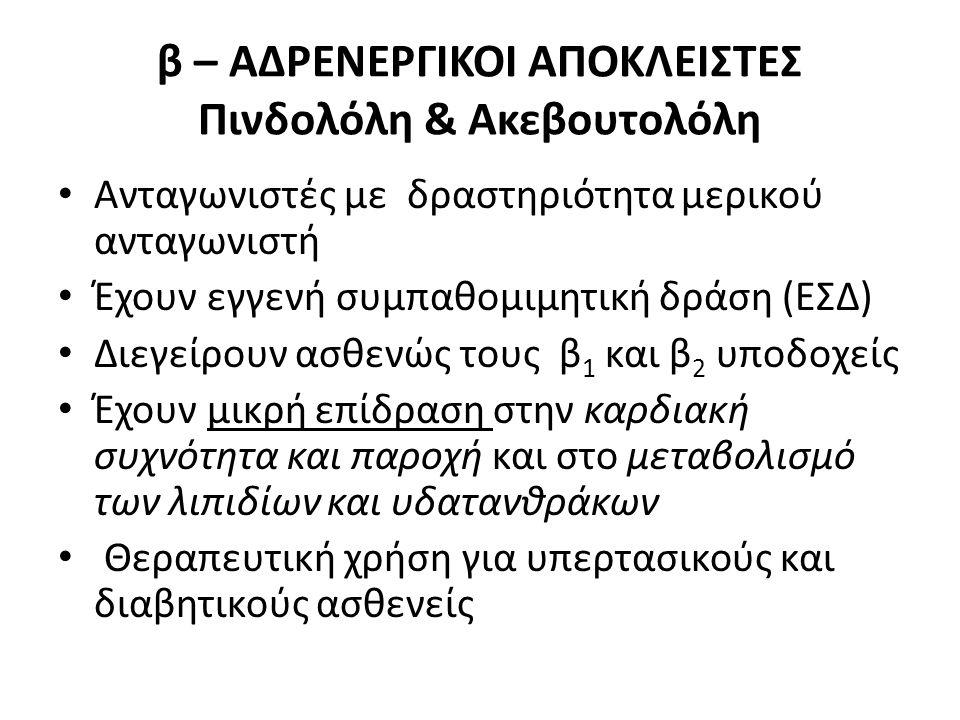 β – ΑΔΡΕΝΕΡΓΙΚΟΙ ΑΠΟΚΛΕΙΣΤΕΣ Πινδολόλη & Ακεβουτολόλη