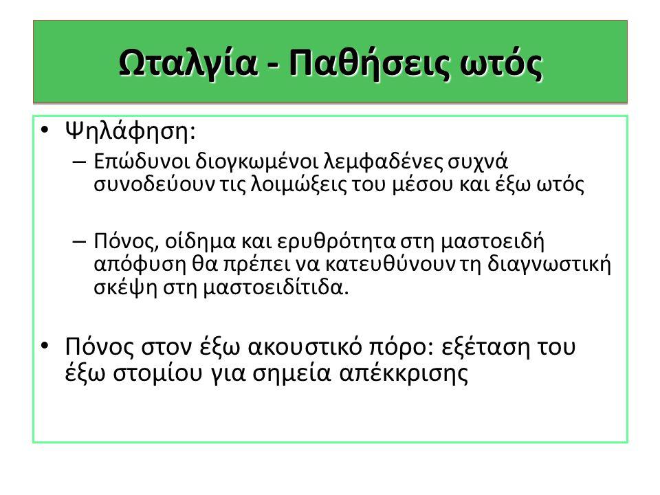 Ωταλγία - Παθήσεις ωτός
