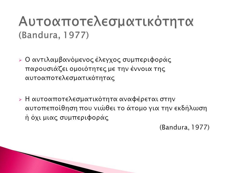 Aυτοαποτελεσματικότητα (Bandura, 1977)