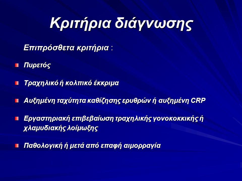 Κριτήρια διάγνωσης Επιπρόσθετα κριτήρια : Πυρετός