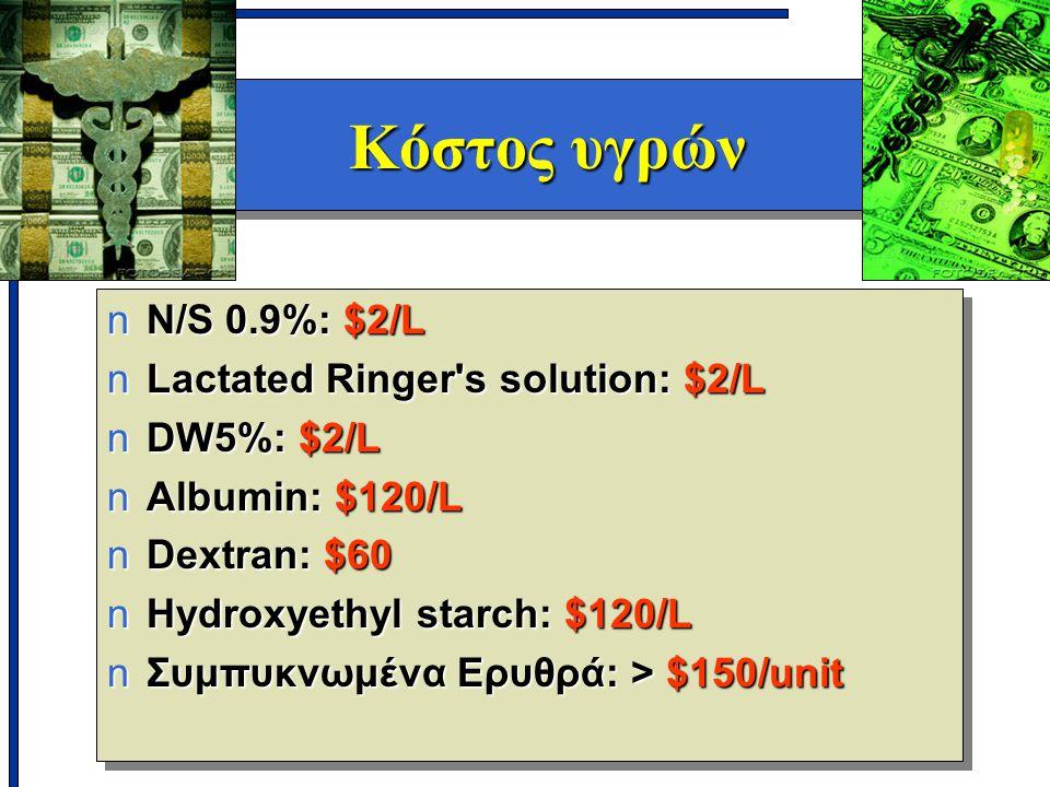 Κόστος υγρών N/S 0.9%: $2/L Lactated Ringer s solution: $2/L