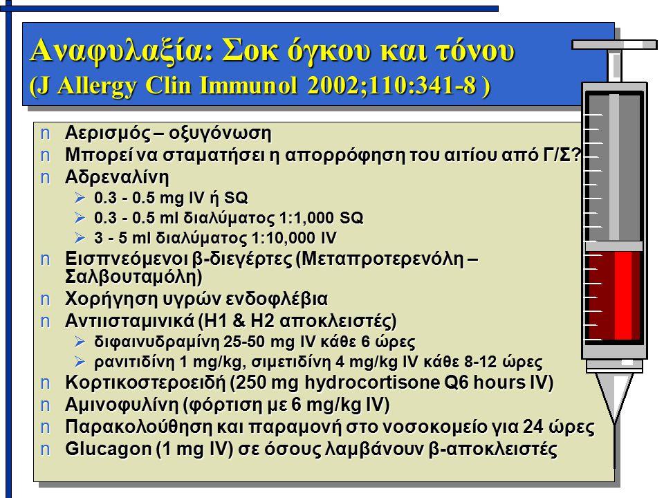 Αναφυλαξία: Σοκ όγκου και τόνου (J Allergy Clin Immunol 2002;110:341-8 )