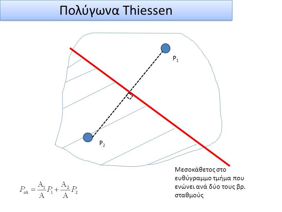 Πολύγωνα Thiessen P1 P2 Μεσοκάθετος στο ευθύγραμμο τμήμα που ενώνει ανά δύο τους βρ. σταθμούς