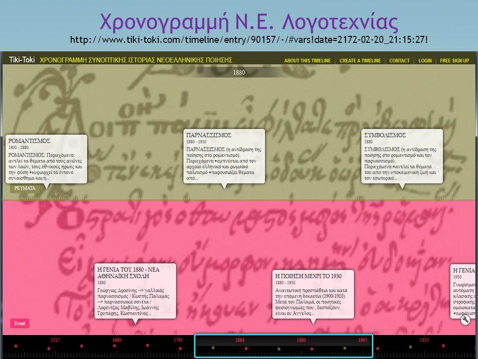 Χρονογραμμή Ν. Ε. Λογοτεχνίας http://www. tiki-toki