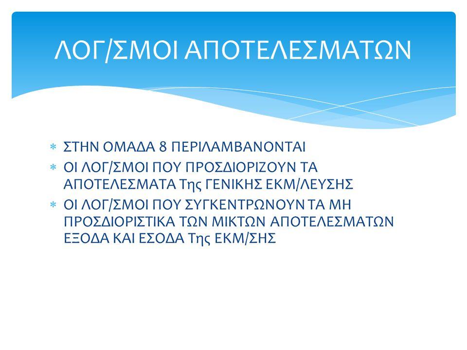 ΛΟΓ/ΣΜΟΙ ΑΠΟΤΕΛΕΣΜΑΤΩΝ