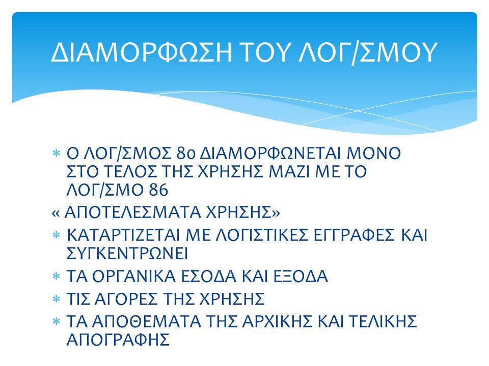 ΔΙΑΜΟΡΦΩΣΗ ΤΟΥ ΛΟΓ/ΣΜΟΥ
