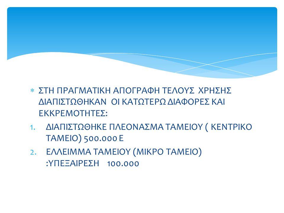 ΔΙΑΠΙΣΤΩΘΗΚΕ ΠΛΕΟΝΑΣΜΑ ΤΑΜΕΙΟΥ ( ΚΕΝΤΡΙΚΟ ΤΑΜΕΙΟ) 500.000 Ε