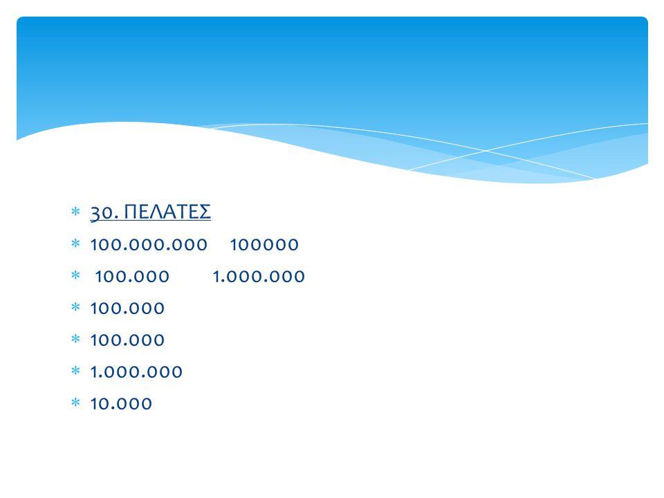 30. ΠΕΛΑΤΕΣ 100.000.000 100000. 100.000 1.000.000.