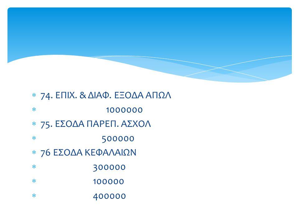 74. ΕΠΙΧ. & ΔΙΑΦ. ΕΞΟΔΑ ΑΠΩΛ 1000000 75. ΕΣΟΔΑ ΠΑΡΕΠ. ΑΣΧΟΛ 500000