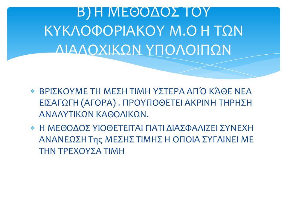 Β) Η ΜΕΘΟΔΟΣ ΤΟΥ ΚΥΚΛΟΦΟΡΙΑΚΟΥ Μ.Ο Η ΤΩΝ ΔΙΑΔΟΧΙΚΩΝ ΥΠΟΛΟΙΠΩΝ
