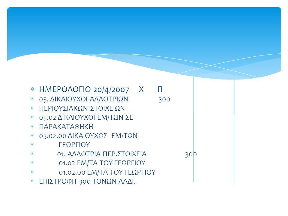 ΗΜΕΡΟΛΟΓΙΟ 20/4/2007 Χ Π 05. ΔΙΚΑΙΟΥΧΟΙ ΑΛΛΟΤΡΙΩΝ 300