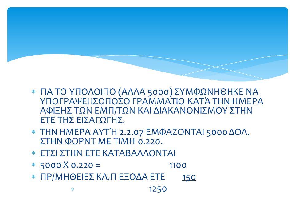 ΤΗΝ ΗΜΕΡΑ ΑΥΤΉ 2.2.07 ΕΜΦΑΖΟΝΤΑΙ 5000 ΔΟΛ. ΣΤΗΝ ΦΟΡΝΤ ΜΕ ΤΙΜΗ 0.220.