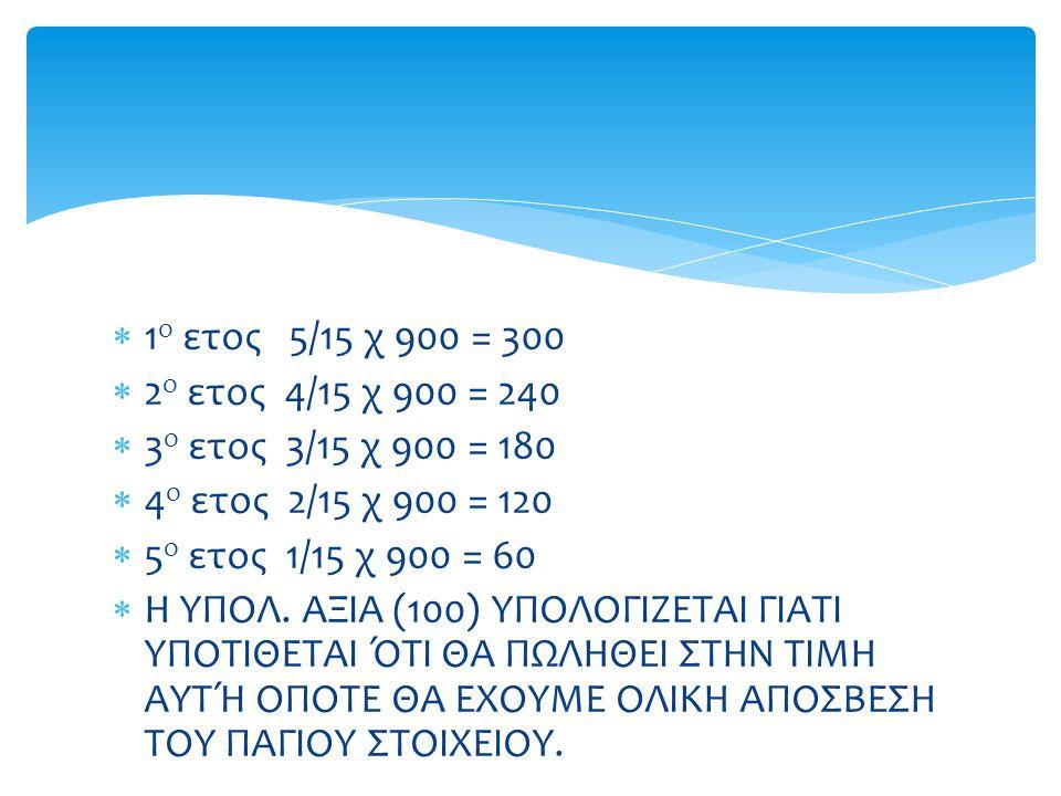 1ο ετος 5/15 χ 900 = 300 2ο ετος 4/15 χ 900 = 240. 3ο ετος 3/15 χ 900 = 180. 4ο ετος 2/15 χ 900 = 120.