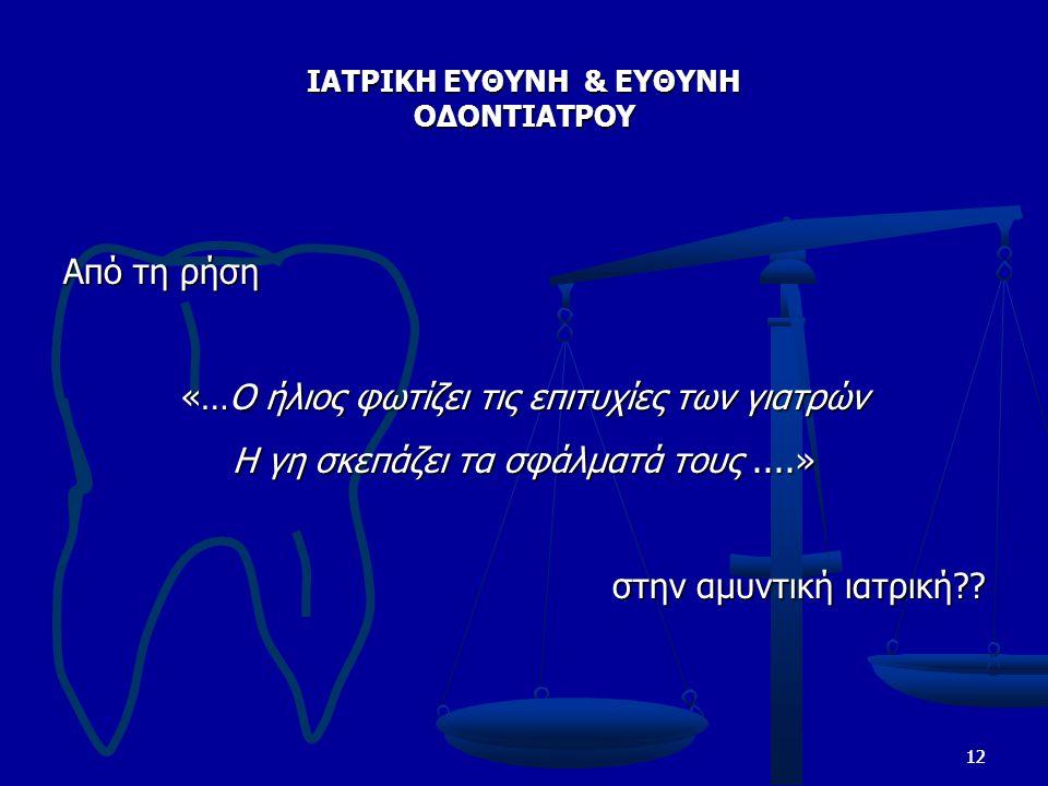 ΙΑΤΡΙΚΗ ΕΥΘΥΝΗ & ΕΥΘΥΝΗ ΟΔΟΝΤΙΑΤΡΟΥ